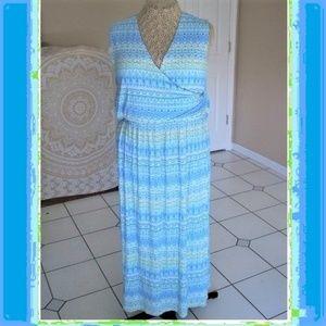Lightweight Summer Knit Faux Wrap Maxi Dress